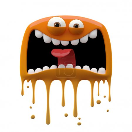 Photo for 3d cartoon funny screaming two-eyed orange monster isolated on white background - Royalty Free Image