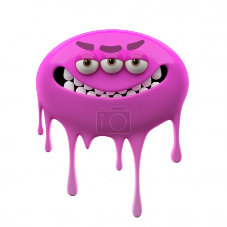 Oviform angry smiling purple three-eyed monster