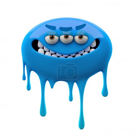 Oviform angry smiling blue three-eyed monster