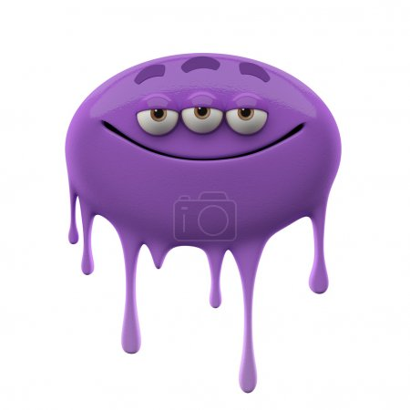 Oviform purple three-eyed monster