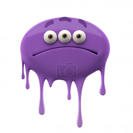 Oviform sad purple three-eyed monster