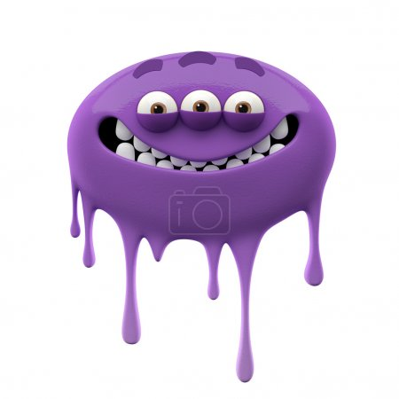 Oviform smiling purple three-eyed monster