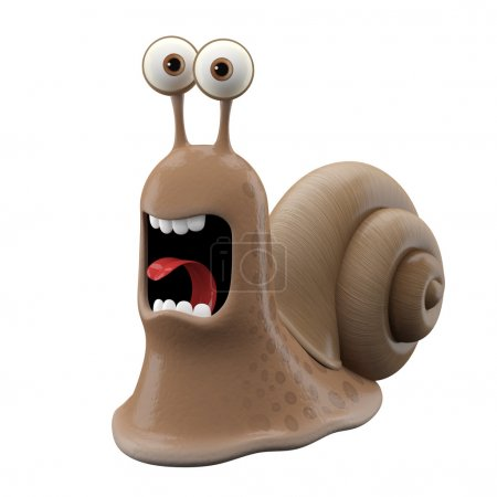 Screaming cartoon snail