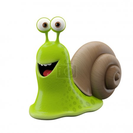 Funny green cartoon snail
