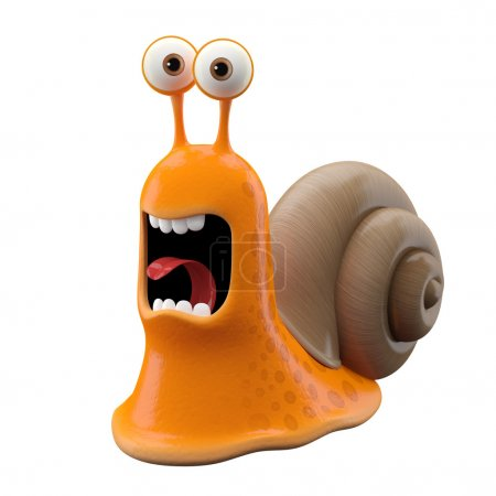 Screaming orange cartoon snail