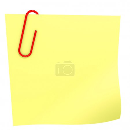 Photo for Yellow stick note on white. 3D illustration. - Royalty Free Image