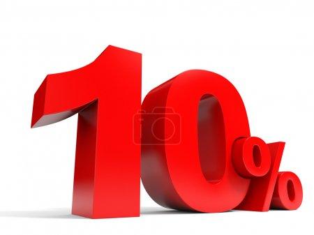 Red ten percent off. Discount 10 percent.