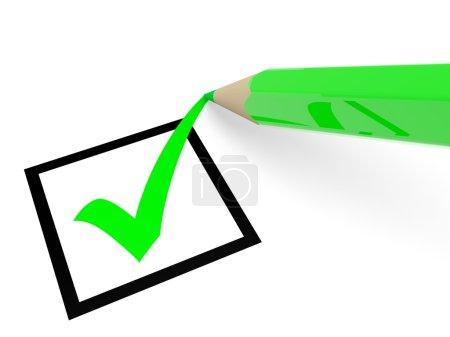Photo pour Coche verte dans la case à cocher et un crayon. voter. illustration 3D. - image libre de droit