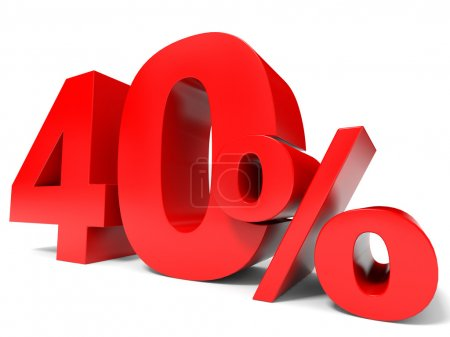 Red forty percent off. Discount 40 percent.