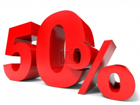 Red fifty percent off. Discount 50 percent.