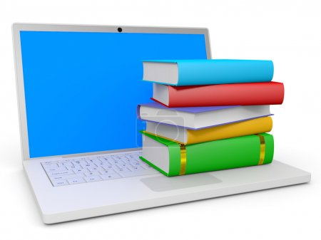 Photo for Stack of books and laptop on white background. 3D illustration. - Royalty Free Image