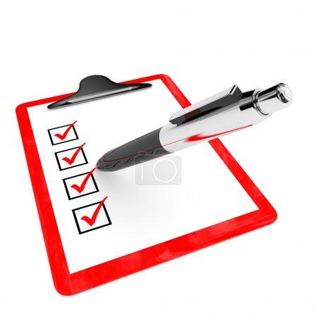 Photo pour Porte-tampon rouge avec cases à cocher et stylo sur fond blanc. Illustration 3D . - image libre de droit