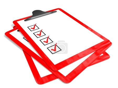 Photo pour Porte-tampons rouges avec cases à cocher sur fond blanc. Illustration 3D . - image libre de droit