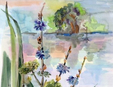 Photo pour Aquarelle sur papier, mains, nature, illustration, paysage - image libre de droit