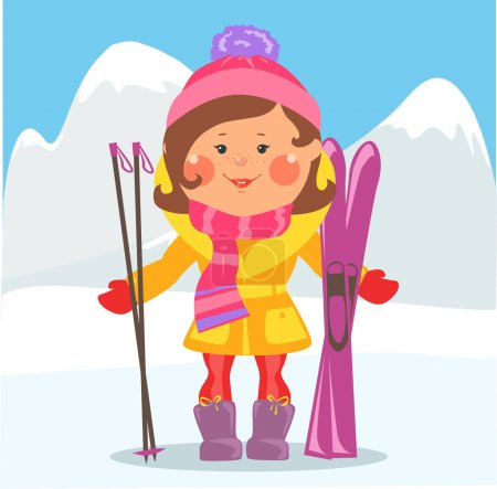 Illustration for Cartoon people, Winter holidays , Girl with skis - Royalty Free Image
