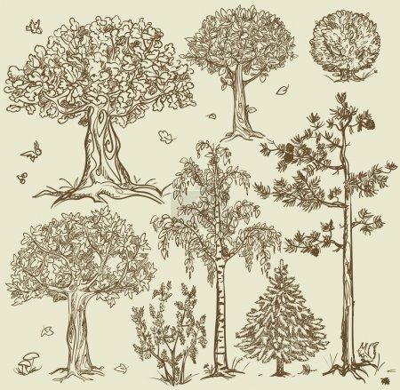 Vintage style trees set