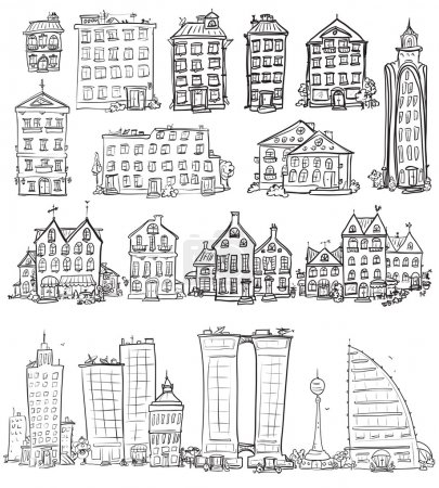 City doodles set