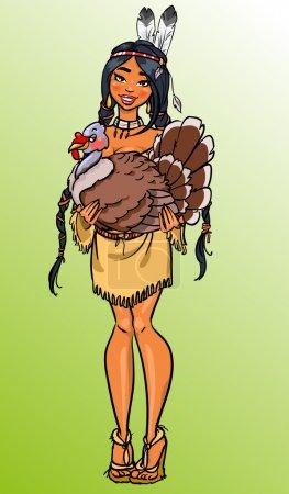 Thanksgiving dinner invitation, American Indian girl holding turkey
