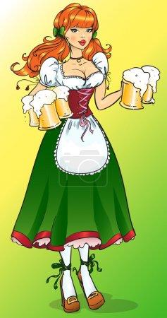 Illustration pour Jolie fille à la bière, Oktoberfest ou St. Patrick's day girl - image libre de droit