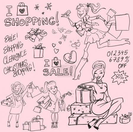 Illustration for Hand drawn women with shopping bags and present boxes, Shopping doodles, sketch - Royalty Free Image
