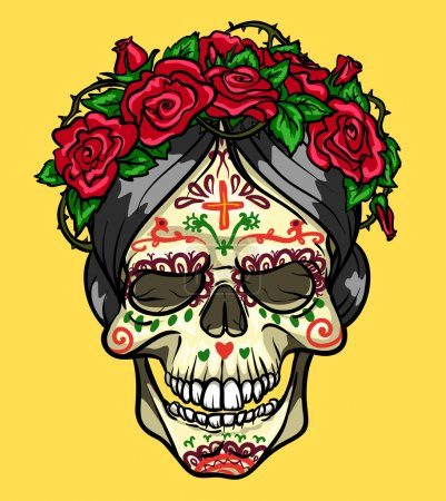 Skull with roses, Day of the Dead, sugar skull...