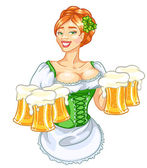 St Patrick's day pretty girl with beer redhead woman isolated