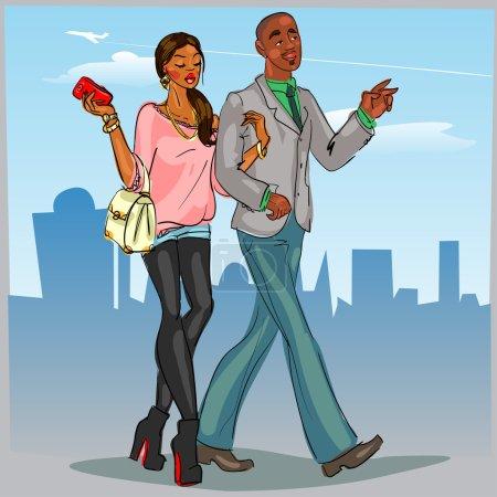 Black couple walking down the street.