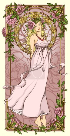 Illustration for Art Nouveau woman in vertical floral border - Royalty Free Image