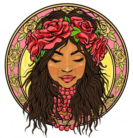 Mexican woman in floral border