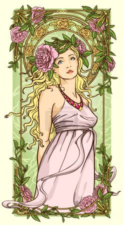 Art Nouveau woman in floral border