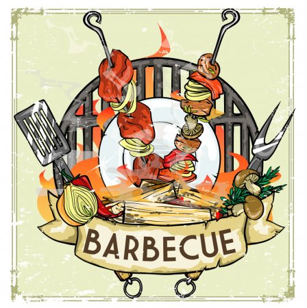 Illustration for BBQ Grill logo design - Barbecue Collection Vector Illustration with sample text - Royalty Free Image