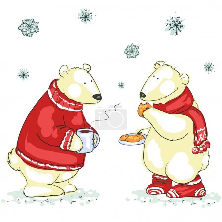 Illustration for Polar bears, Hand drawn Christmas background - Royalty Free Image