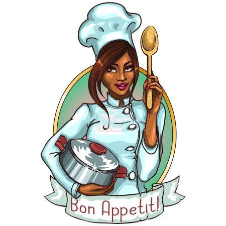 Illustration pour Jolie chef avec pot et cuillère. Étiquette avec bannière à ruban et exemple de texte - image libre de droit