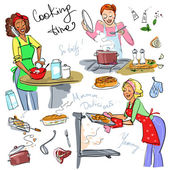 Women at kitchen cooking