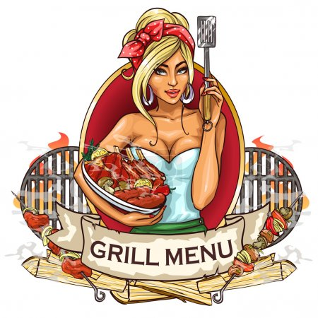 Illustration for BBQ Grill Party label design with ribbon banner and sample text. - Royalty Free Image
