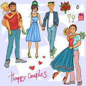 Happy Couples Hand drawn young people in love