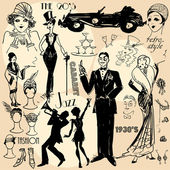 Hand drawn retro women and men of twenties sketch 20s 30s
