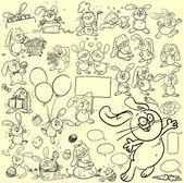 Bunnies rabbits cartoon characters set