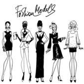 Fashion models Hand drawn vector sketching