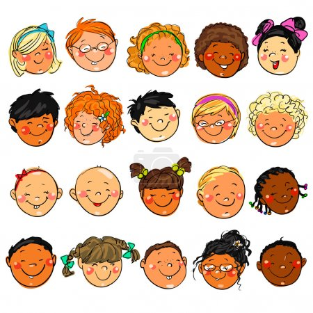 Illustration for Happy Kids Faces. Hand drawn clip-art. - Royalty Free Image
