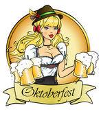 Girl with beer Oktoberfest logo