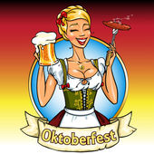 Bavarian girl with beer and smoking sausage Oktoberfest label