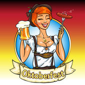 Pretty Bavarian girl with beer and smoking sausage Oktoberfest label with ribbon banner and space for text isolated