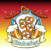 Oktoberfest label with beer pretzels and sausages