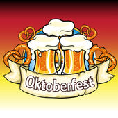 Oktoberfest label with beer and pretzels Isolated