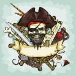 Pirate Skull logo design, vector illustrations wit...