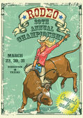 Rodeo Cowgirl riding a bull Retro style Poster Sample text and grunge effect are removable