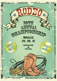 Retro style Rodeo Championship poster with cowboy stuff ribbon banner and sample text on it Text and grunge effect are removable
