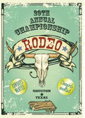 Retro style Rodeo Championship poster with longhorn skull ribbon banner and sample text on it Text and grunge effect are removable