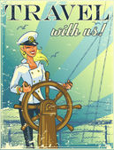 Nautical poster with beautiful female captain and sample text invitation design Summer marine background (grunge effect is removable)